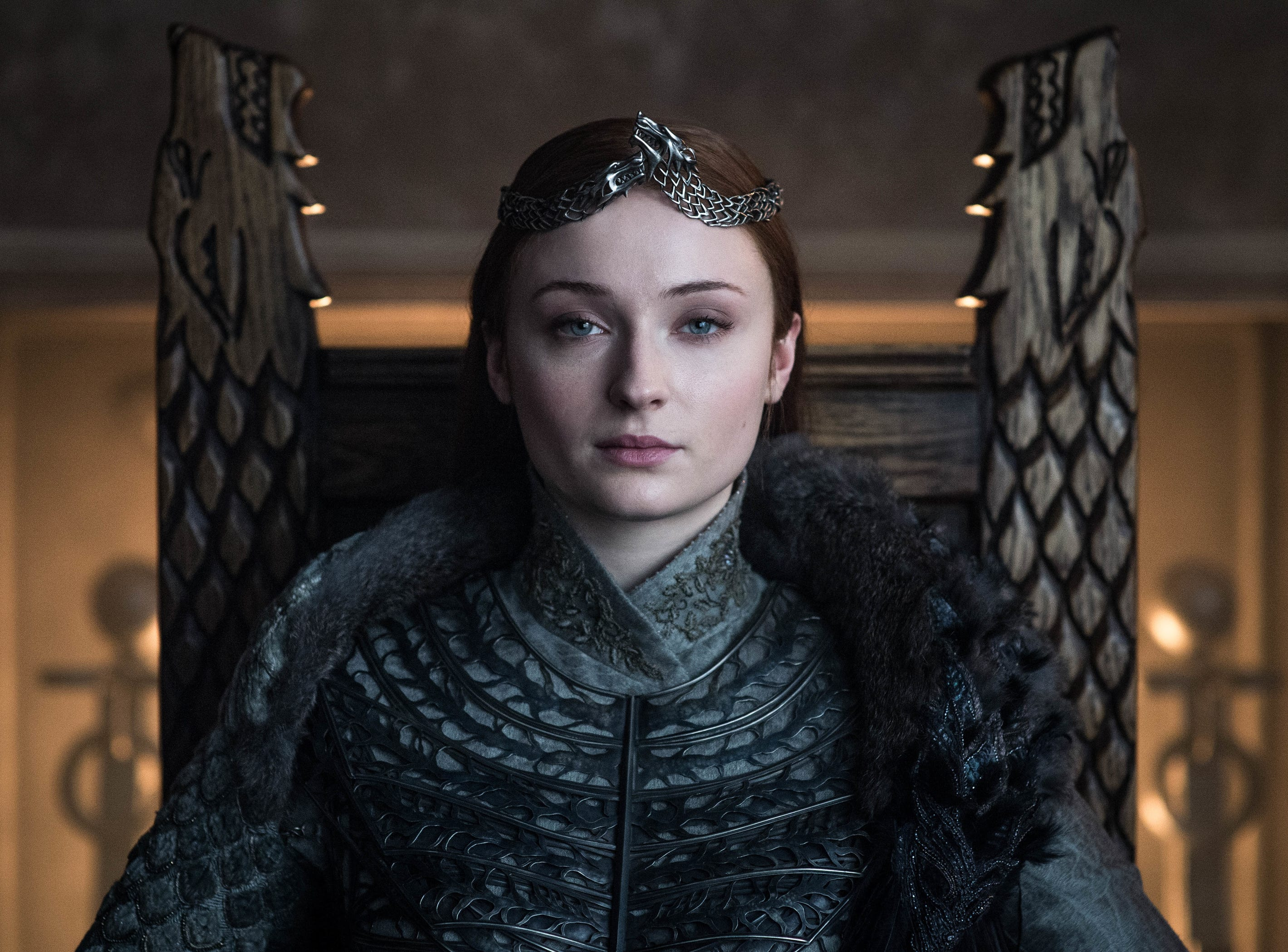 Sansa Stark (Sophie Turner) wears the crown as Queen in the North.