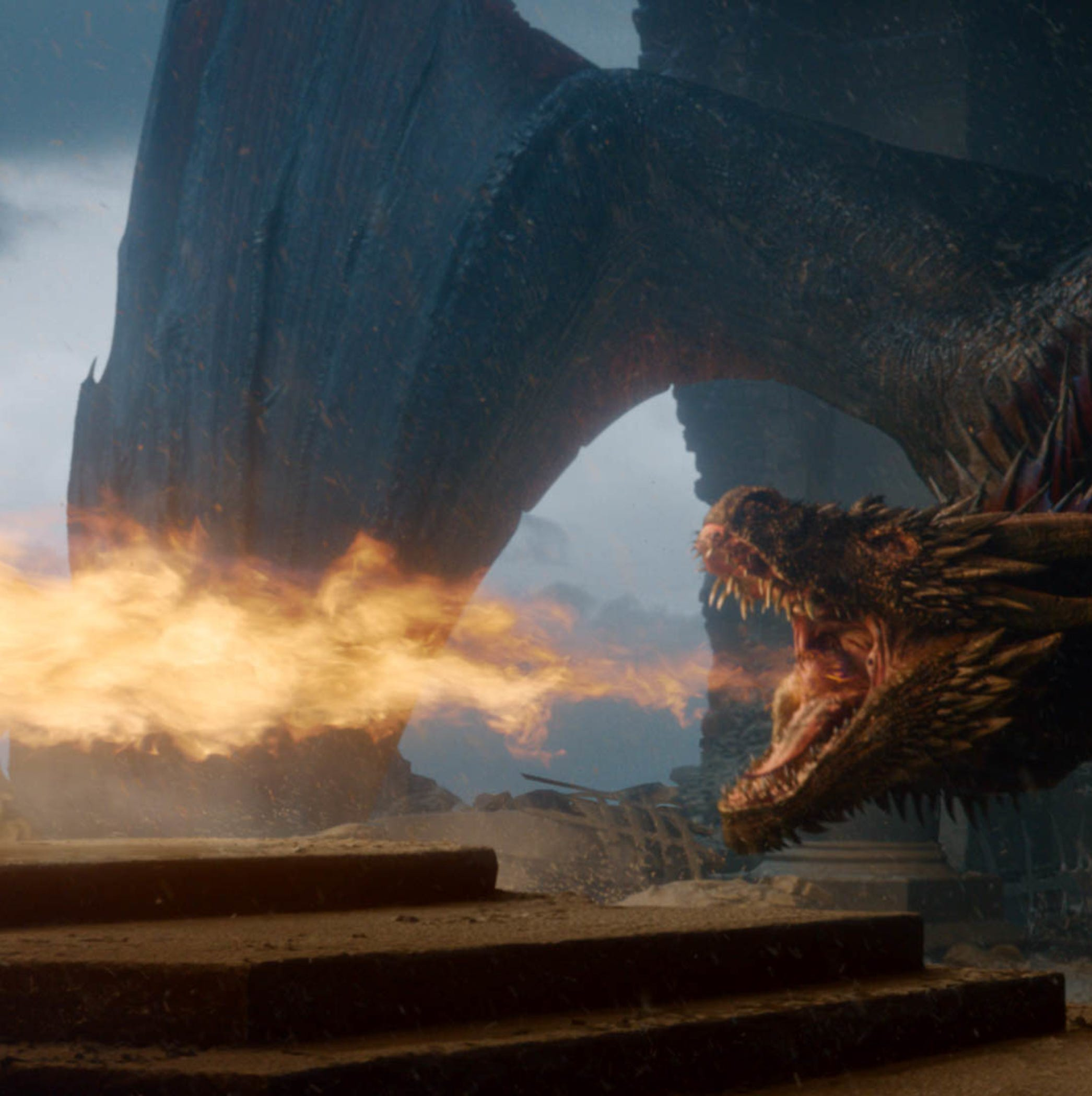 Drogon lets off some steam - and fire - after Dany's death.