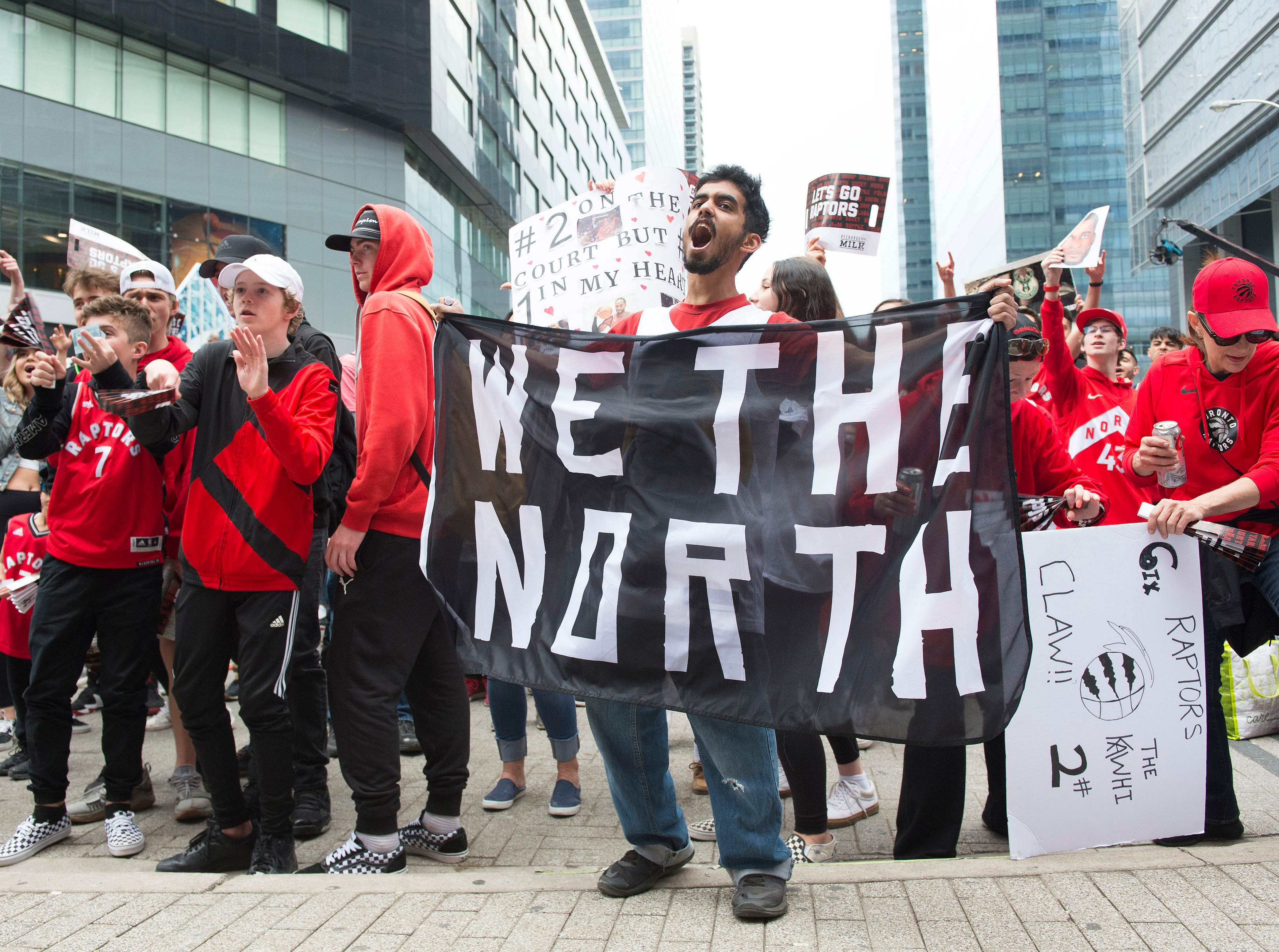 May 19: Toronto Raptors fans show their support prior to Game 3 of the Eastern Conference finals.