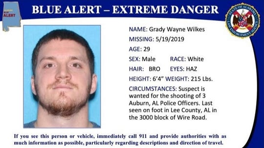 Alabama Blue Alert from Alabama Law Enforcement Agency for suspect Grady Wayne Wilkes