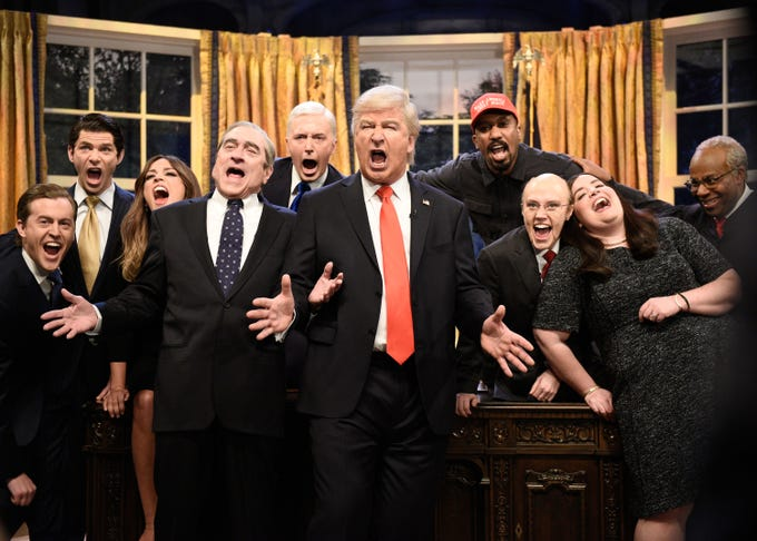 """The season finale of """"SNL"""" included a cold open from the Oval Office in which the Trump administration parodies Queen's """"Don't Stop Me Now.""""  Sample lyrics: """"He's a billionaire / unless you take a look at his taxes / He's gonna hide, hide hide / There's no showing you.""""  The ensemble included Alex Moffat as Eric Trump, Mikey Day as Donald Trump Jr., Cecily Strong as Melania Trump, Robert De Niro as Robert Mueller, Beck Bennett as Mike Pence, Alec Baldwin as Donald Trump, Chris Redd as Kanye West, Kate McKinnon as Commerce Secretary Wilbur Ross, Aidy Bryant as Sarah Sanders and Kenan Thompson as Supreme Court  Justice Clarence Thomas."""