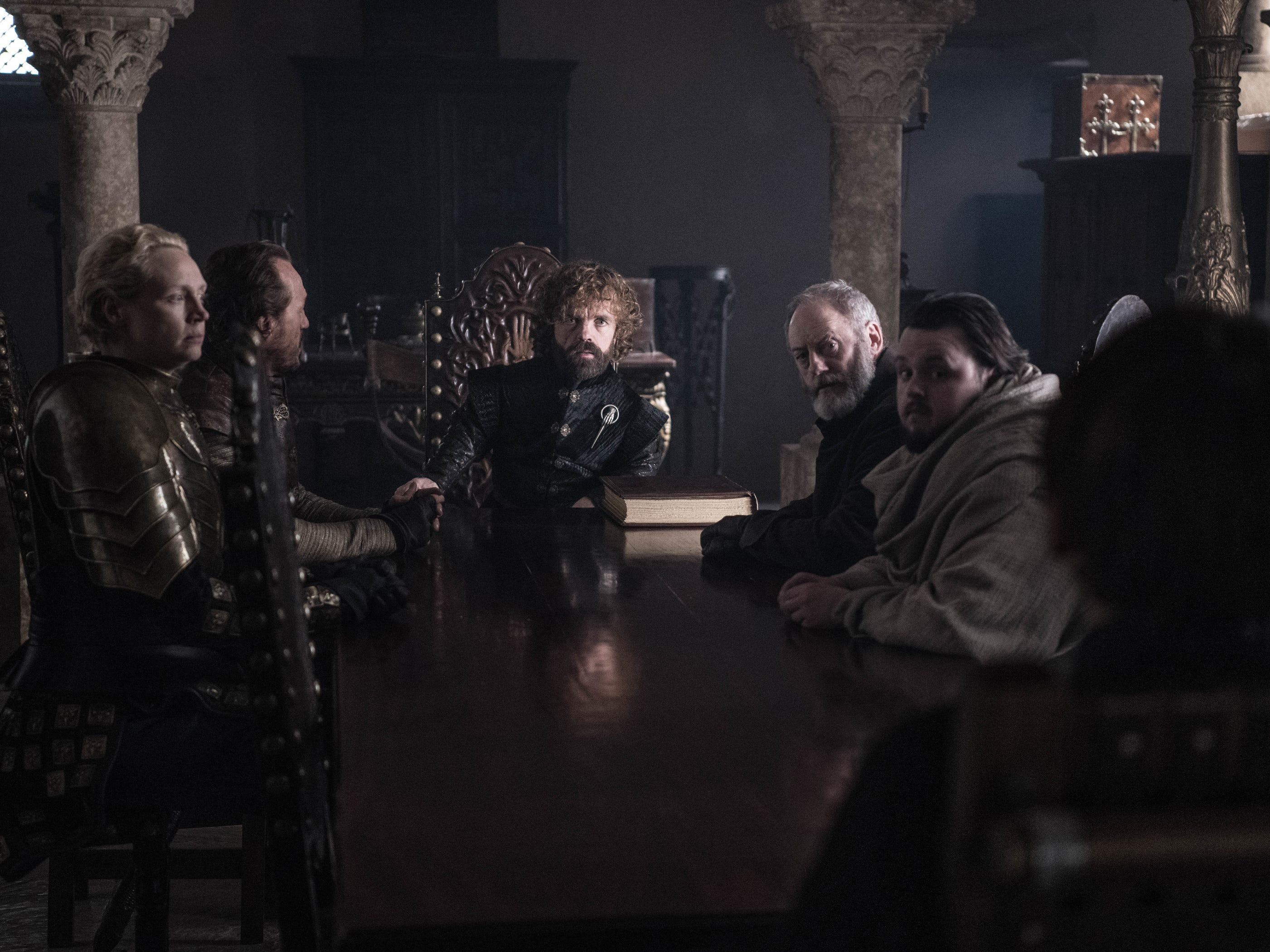 Under new management: Brienne (Gwendoline Christie), left, Bronn (Jerome Flynn), Tyrion Lannister (Peter Dinklage), Davos Seaworth (Liam Cunningham), Samwell Tarly (John Bradley) and Bran Stark (Isaac Hempstead Wright) hold a meeting.