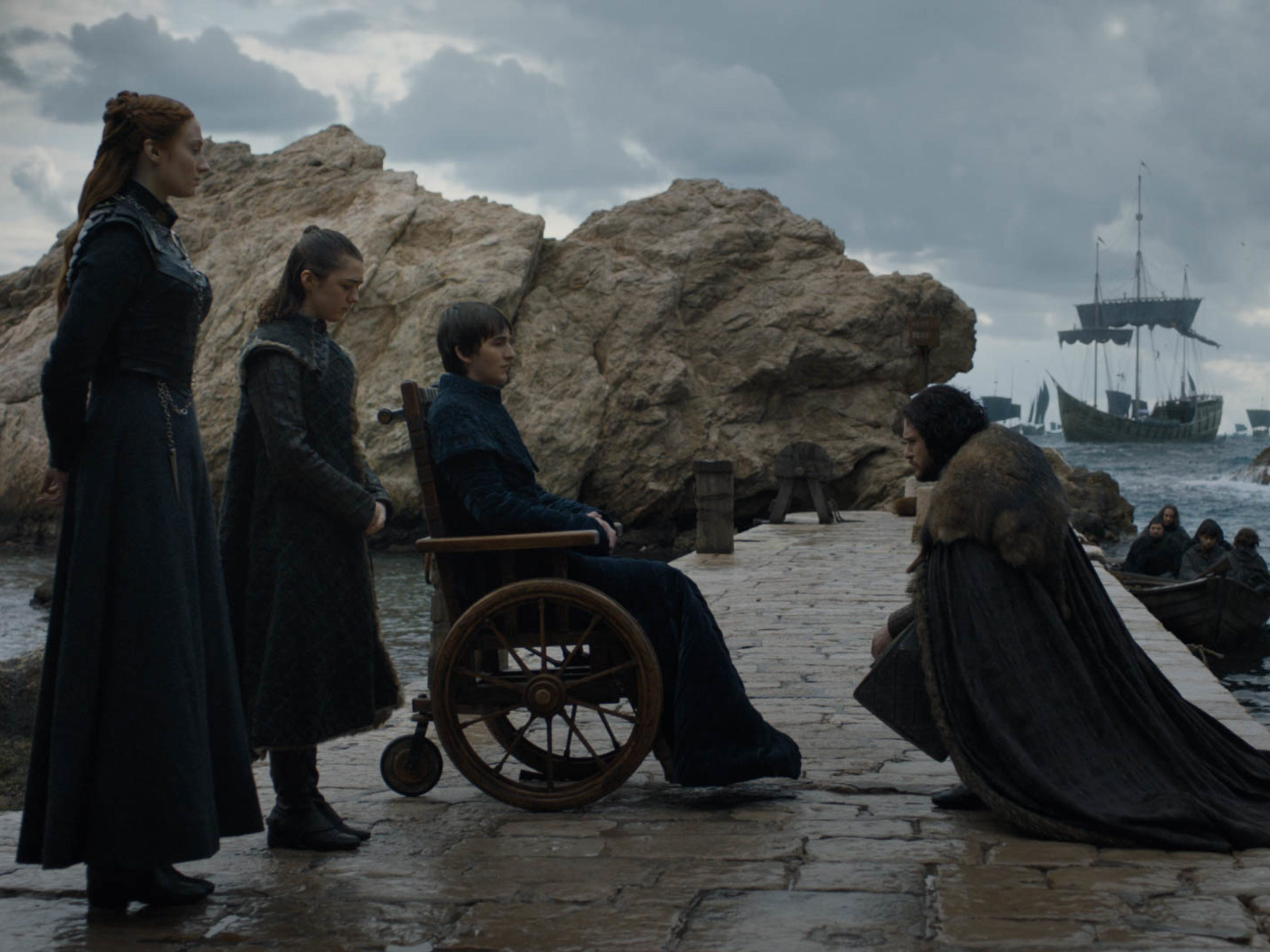 The Starks - Sansa (Sophie Turner), left, Arya (Maisie Williams), Bran (Isaac Hempstead Wright) and Jon Snow (Kit Harington) - meet, before heading in different directions.