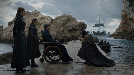 The Starks - Sansa (Sophie Turner), left, Arya (Maisie Williams), Bran (Isaac Hempstead Wright) and Jon Snow (Kit Harington) - meet, before heading in different directions.