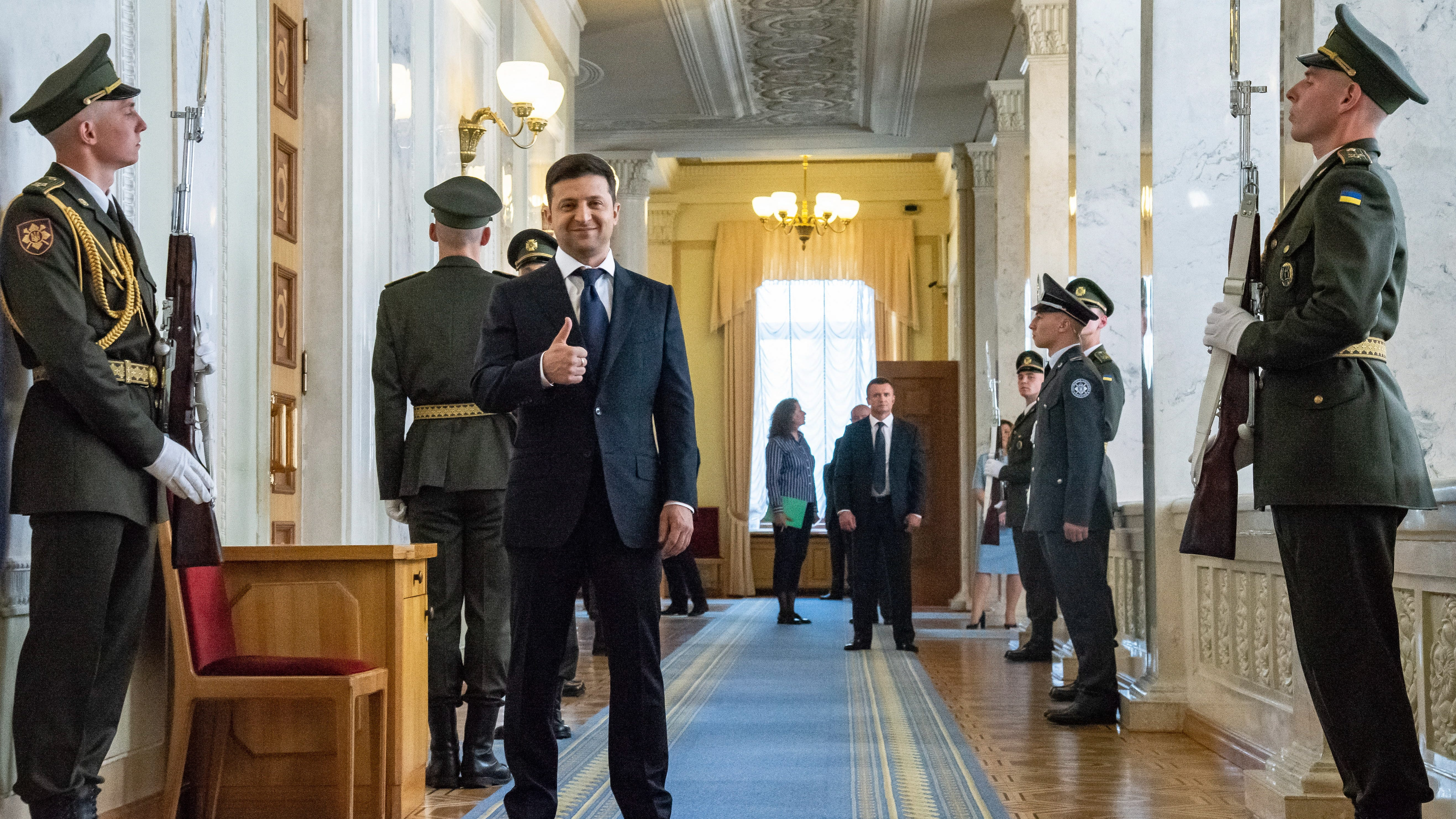 Ukrainian President-elect Volodymyr Zelenskiy (C) gestures as he waits to attend his inauguration ceremony in Kiev, Ukraine, 20 May 2019.