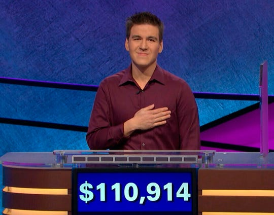 "James Holzhauer, seen in a photo from an earlier ""Jeopardy!"" victory, won his 25th straight contest Wednesday."