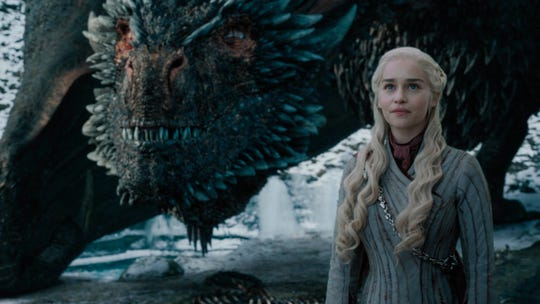 """Emilia Clarke in a scene from HBO's """"Game of Thrones"""" that aired May 5, 2019."""