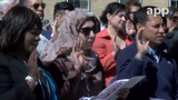 During a ceremony held in front of the Lighthouse at Sandy Hook, 52 new citizens from 29 countries take the natrualization oath.