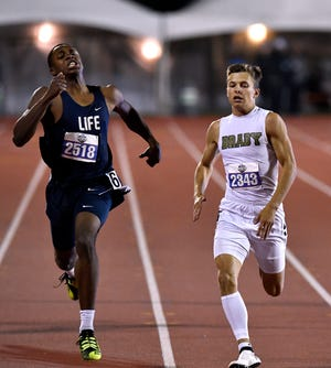 Dallas Life Oak Cliff's Elijah Simpson (left) and Brady's Jack Marshall finish first and second, respectively, in the Boys Class 3A 200 Meter Dash at the UIL State Track & Field Championships in Austin Friday May 10, 2019.