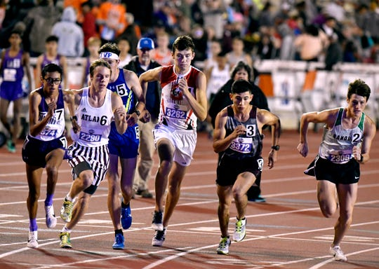 Sonora's Evan Shannon, Sonora towers over the competition in the Boys Class 3A 1600 Meter Run at the UIL State Track & Field Championships in Austin Friday May 10, 2019.