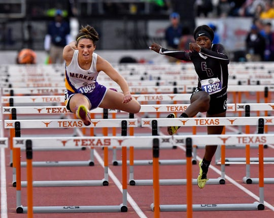 Merkel's Kaydi Pursley competes in the 100-meter hurdles at the UIL state track and field meet in 2019. Pursley earned the silver medal behind Early's Trinity Tomlinson.