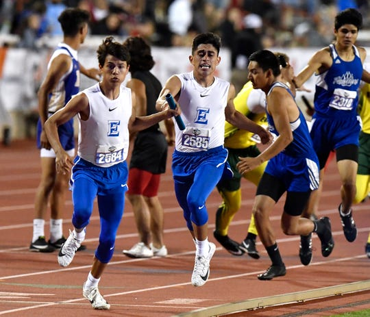 Eden's Eli Eureste receives the baton from Donovan Gonzales during the Boys 1A 4x400 Meter Relay at the UIL State Track & Field Championships in Austin Friday May 10, 2019.