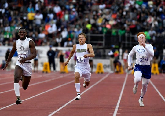 Cameron Yoe's Davion Bynaum (left),  Brady's Jack Marshall, and Blanco's Cade Felps compete in the Class 3A Boys 100 Meter Dash at the UIL State Track & Field Championships in Austin Friday May 10, 2019.