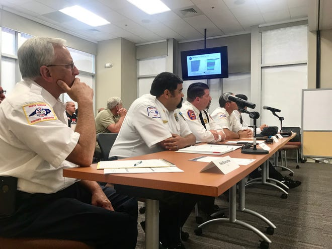Chiefs of six volunteer fire departments in Buncombe County make presentations at a May 21, 2019 meeting requesting a tax rate increase for operations.