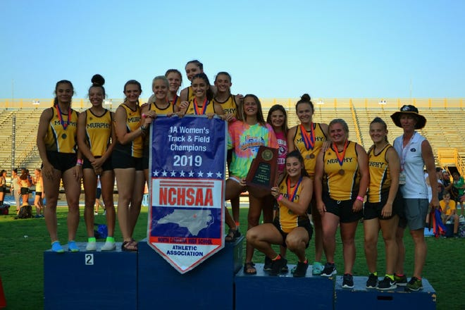 Murphy's track and field team poses after winning the NCHSAA 1A state track meet for the second straight year