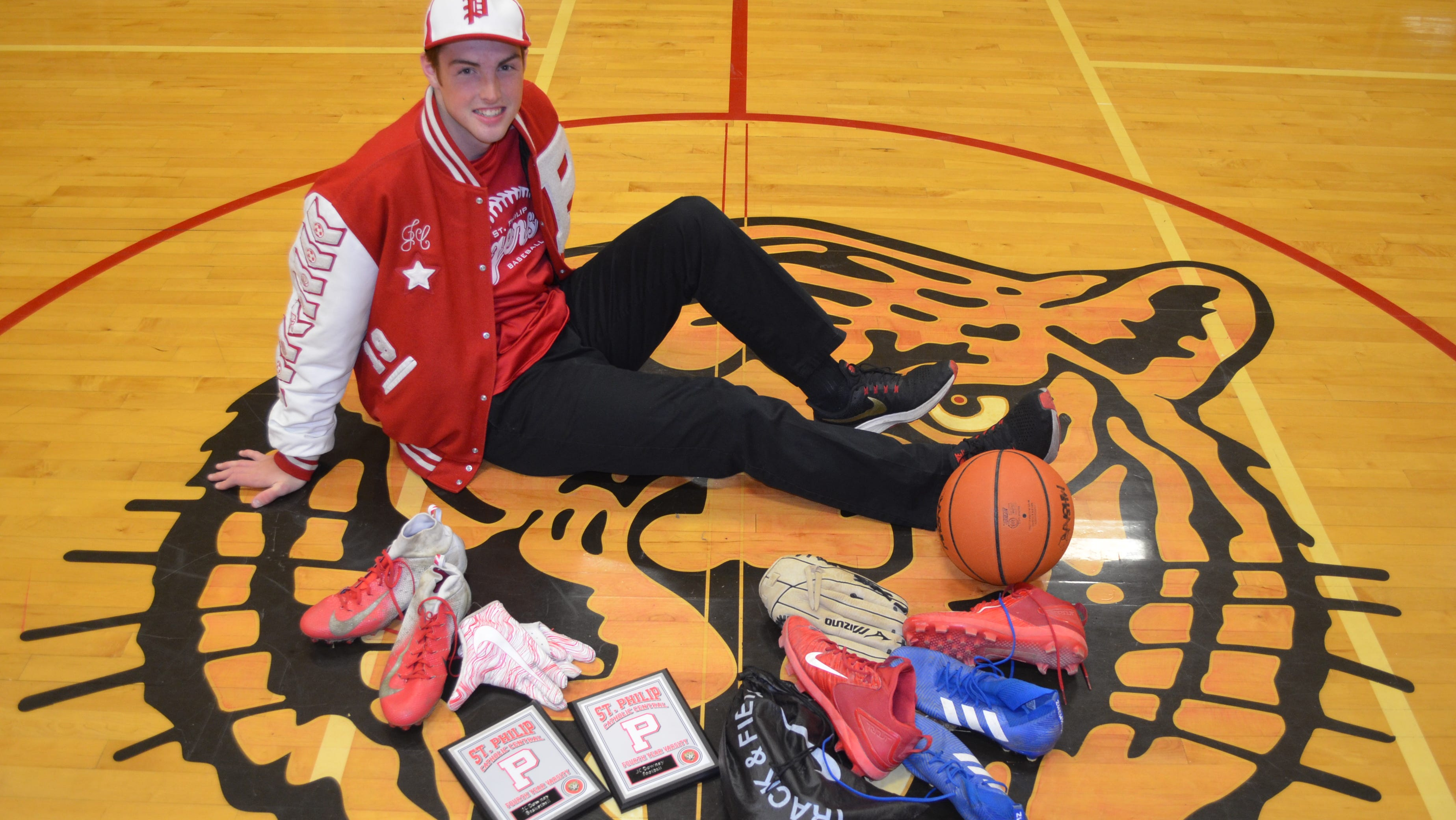 St. Philip senior JC Downey will finish his high school career with 19 varsity letters, competing in both baseball and track in the spring, basketball in the winter and both soccer and football in the fall.