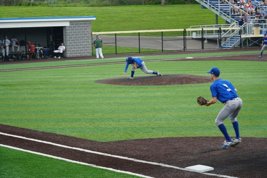 Horseheads' Elijah Schooley follows through on a pitch in the fourth inning of Monday's Southern Tier Athletic Conference title game against Vestal at Maine-Endwell. The Blue Raiders won, 2-0.