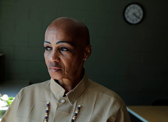 "In this May 9, 2019 photo, Cheryl Lidel poses for a photo in the Washington Correctional Center in Shelton, Wash. Lidel is among a small group of inmates who are set to stay in Washington state prisons for life who were left out of the latest in a multi-year wave of reforms easing tough-on-crime ""three strikes"" laws around the U.S."