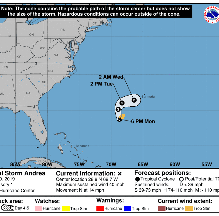 Subtropical Storm Andrea forms in the Atlantic Ocean