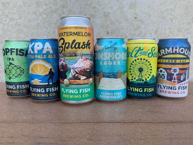 A lineup of summer beers from Flying Fish that will be available at the new beer garden located at Adventure Aquarium on the Camden Waterfront. From left, Hopfish IPA; XPA extra pale citrus ale; Watermelon Splash wheat beer made with watermelon; Onshore Lager; Salt and Sea, a Gose-style session brew with natural lime and strawberry flavors, and Farmhouse Golden Ale.