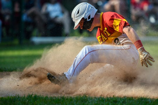 Cherry Hill East's Sean McKenna scores a run during a 7-2 win over Lenape in the opening round of the South Jersey Group 4 playoffs.