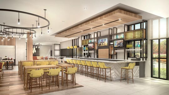 A rendering shows the restaurant that will be in the new Hilton Garden Inn on the Camden Waterfront.