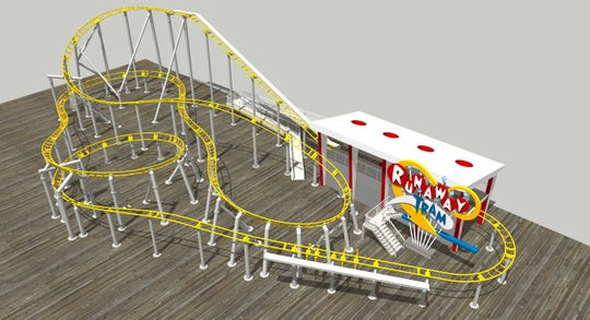 The Runaway Tram is a nod to the boardwalk's 70-year tradition of the Sightseer Tram Car. The ride - on Morey's Pier's Surfside Pier opens June 2019.