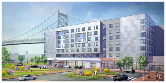 A rendering shows what the Hilton Garden Inn will look like once it's completed. The hotel will open on the Camden Waterfront in late 2020.