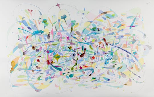 "Aurora Robson's ""Lambie,"" which is Ink and junk mail on paper, is part of her exhibit through Sept. 1 at Hunterdon Art Museum in Clinton. Two other new exhibits also will be on display through Sept. 1."