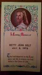 The funeral card for Betty Jean Belt