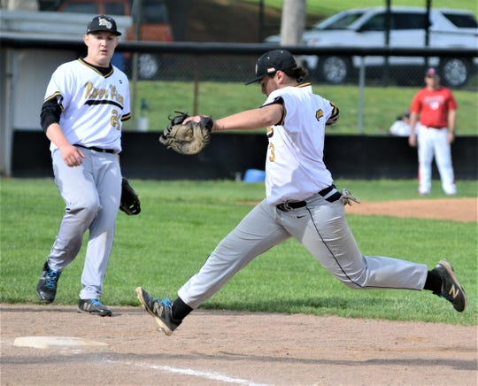 River View's Dakota Williamson beats an Indian Valley runner to the bag in last season's district semifinal. The Black Bears graduated 11 players from the roster, but coach Jesse Smoulder is encouraging the underclassmen to keep working.