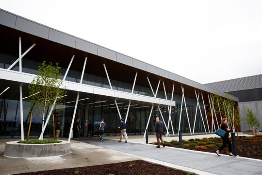 The entrance to building 5 at the Facebook Data Center on Tuesday, May 21, 2019, in Altoona. The company announced another expansion at the site adding another million square feet to their existing 2.5 million square feet.