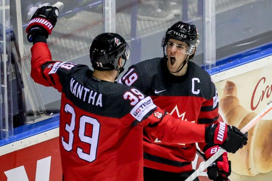 Kyle Turris of Canada celebrates his goal with teammate Anthony Mantha during the World Championship game between Canada and USA at the Steel Arena in Kosice, Slovakia, on May 21, 2019.
