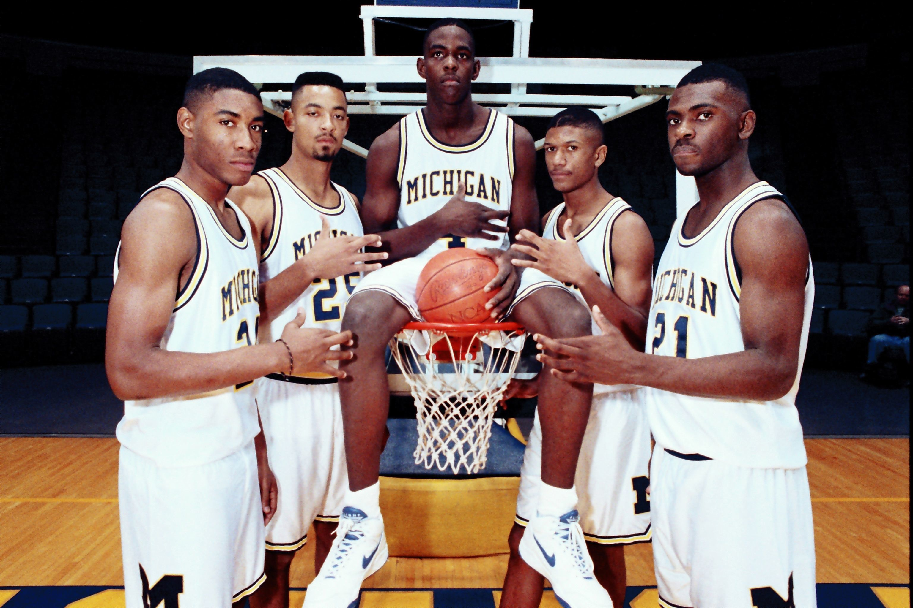 Michigan's Fab Five: From left, Jimmy King, Juwan Howard, Chris Webber, Jalen Rose and Ray Jackson pose in Ann Arbor in November of 1991.