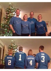 Detroit Lions superfan Matthew Wheeler with his son David, from left, daughter Maria-Elaine and wife Ursula, far right.