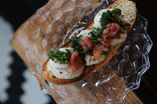 Buttered crostini topped with cannabis-infused cannellini bean mousse, spicy broccoli rabe and beef bacon. This dish was served during the taping of the inaugural episode of Bonnie's Kitchen, a new web series highlighting cannabis cooking and conversation.