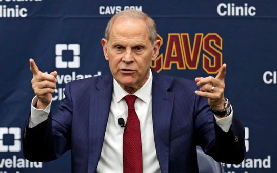 Cavaliers coach John Beilein speaks during a news conference, Tuesday, May 21, 2019, in Independence, Ohio. Beilein left Michigan after a successful 12-year run for what will likely be his last coaching stop, the Cleveland Cavaliers, who believe the 66-year-old can accelerate their rebuild.