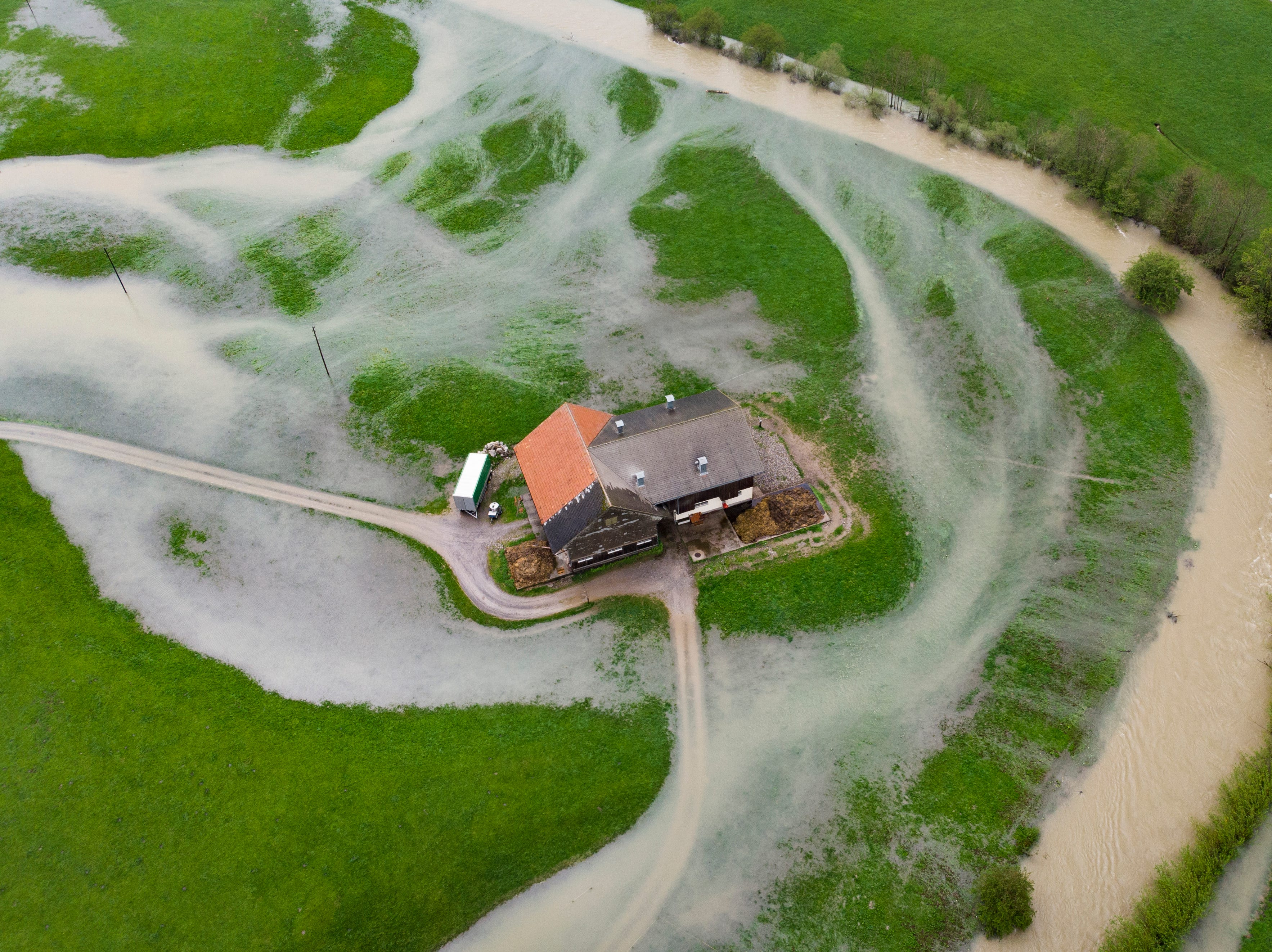 Heavy rainfall in eastern Switzerland led to the swelling and flooding of the river Thur  on Tuesday, May 21, 2019, in Alt St. Johann, Switzerland. There is currently heavy rainfall in Eastern Switzerland.