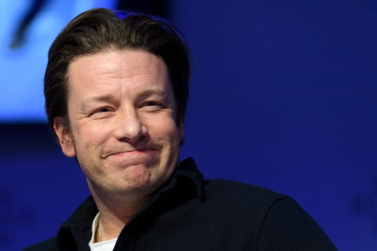 In this Wednesday, Jan. 18, 2017 file photo, British chef Jamie Oliver attends a panel session during the 47th annual meeting of the World Economic Forum, WEF, in Davos, Switzerland.