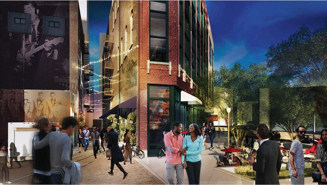 A rendering of the Paradise Valley district celebrating African-American arts and culture that's planned for Detroit's Harmonie Park.