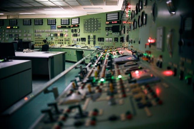 This April 29, 2019 photo shows the abandoned control room, no longer in operation at Vermont Yankee Nuclear Power Station in Vernon, Vt.
