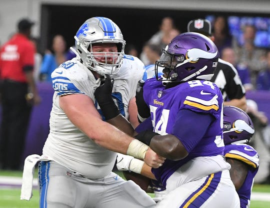 Graham Glasgow, who played center last season, is working out at guard this offseason for the Lions.