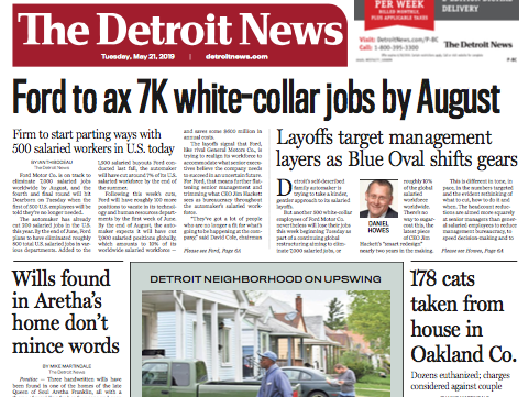 The front page of The Detroit News on Tuesday, May 21, 2019.