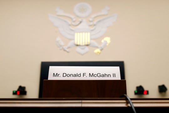 A name placard is displayed for former White House Counsel Don McGahn, who declined to appear before a House Judiciary Committee hearing, Tuesday, May 21, 2019, on Capitol Hill in Washington.