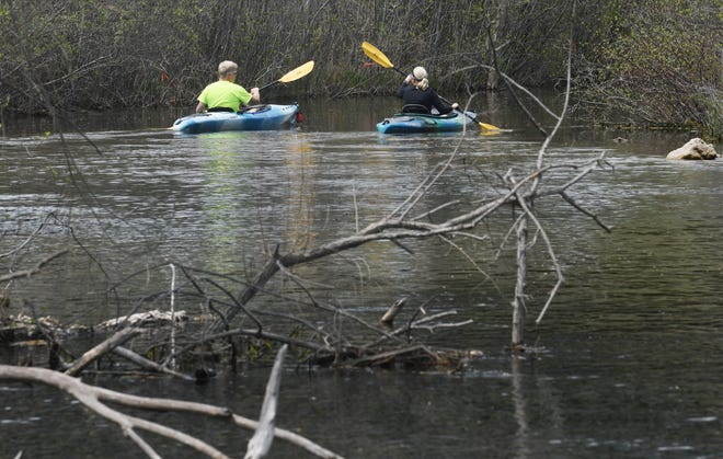 FILE - Patrick and Lori Korte of Novi paddle their kayaks down the Huron River at Proud Lake State Recreation Area in Commerce Township.  The Huron River is one of 18 state waterways with elevated PFAS levels.
