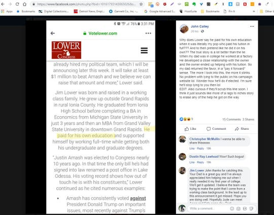 A Facebook screenshot shows an exchange between state Rep. Jim Lower and John Calley, brother of Lt. Gov. Brian Calley.
