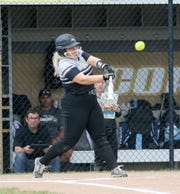 Ellie Daugherty of Corning hits a fly ball against Susquehanna Valley during the STAC softball semifinal May 20, 2019 at Corning.