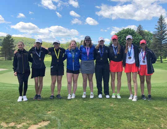 Section 4 girls golf 2019 state qualifiers: Liliana Pranzo of Windham-Ashland-Jewett, Hannah Masaki of Corning, Lucia Chen of Corning, Emily Legare of Horseheads, Brenna Gleim of Hancock, Bailey Shoemaker of Unadilla Valley, Alex Tomasso of Waverly, Sidney Tomasso of Waverly and Gabby Picco of Waverly, who elected not to play at states. Not pictured is Emily Gresham of Chenango Forks.