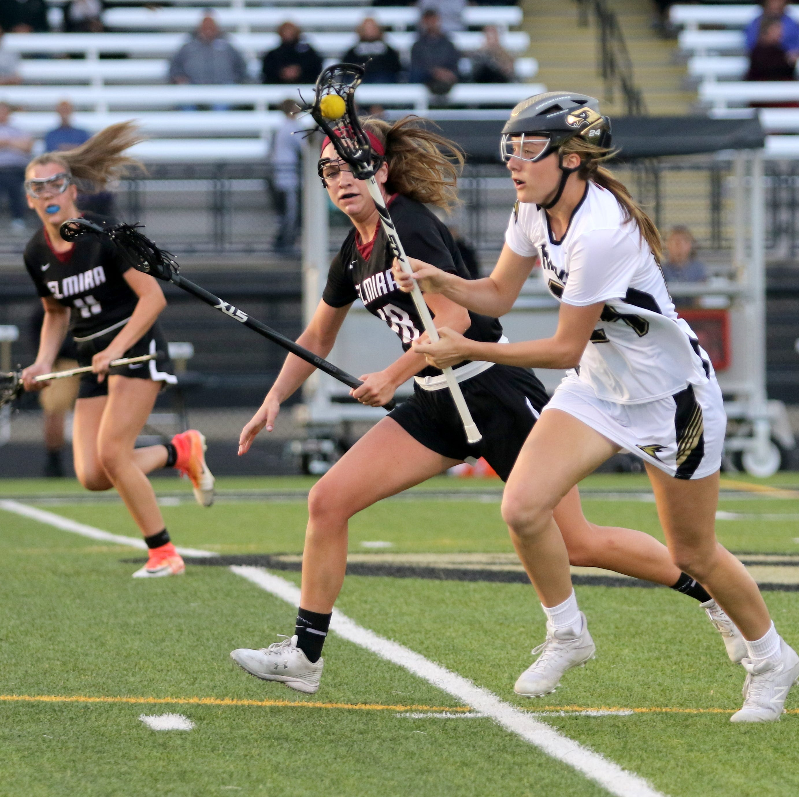 Action from Corning's 17-4 win over Elmira in a Section 4 Class A girls lacrosse semifinal May 20, 2019 at Corning.
