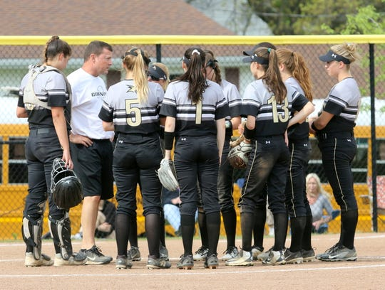 Corning head coach Mike Johnston talks to his team during a 2-1 win over Susquehanna Valley at Corning in a STAC softball semifinal May 20, 2019.